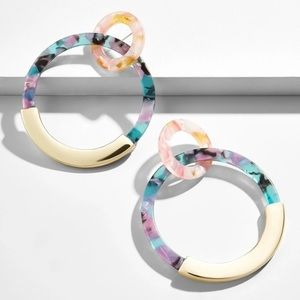BOGO Pastel Acrylic Double Hoop Earrings Gold
